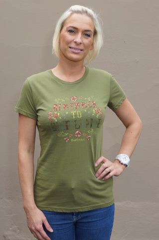 Barbour Ladies Howardian Tee shirt in Loden Green