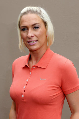 Barbour Sale 5 Button Ladies Polo Shirt in Sienna Orange