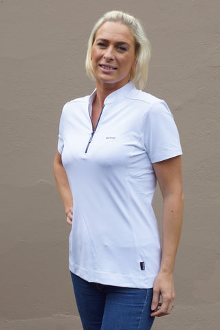 Barbour Stable ladies Polo shirt in White LML03671WH11