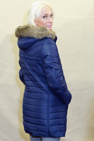 Barbour Rossendale Ladies Quilted Parka jacket in Navy LQU0754NY71