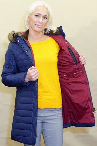 Barbour Rossendale Ladies  Parka Quilt coat in Navy LQU0754NY71
