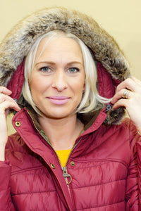 Barbour Rossendale Ladies hooded Parka in Burgundy LQU0754RE71