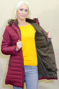 Barbour Rossendale Ladies warm quilted Parka in Burgundy LQU0754RE71