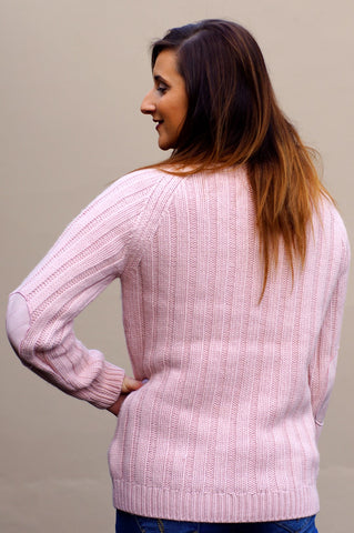 Barbour Crossrail knit sweater in Crystal pink LKN0671PI19
