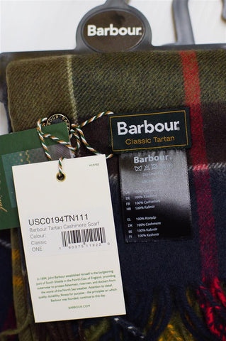 Barbour 100% cashmere Scarf in Classic Tartan
