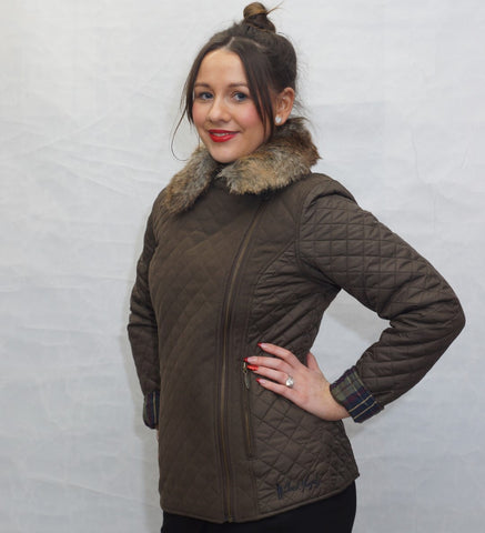 Jack Murphy Lulu Ladies Quilted Jacket in Heritage Brown waist