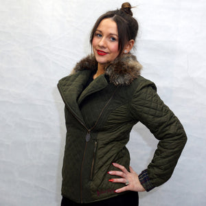 Jack Murphy Lulu Quilted Jacket in Woodland Green hand