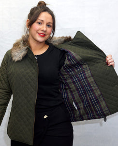 Jack Murphy Lulu Quilted Jacket in Woodland Green tartan lining