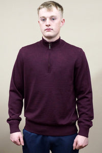Barbour Gamlin-Jumper-Waterproof lining-Half Zip-Merlot-MKN1213RE94 fist