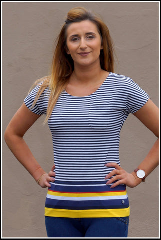 Barbour Harewood Ladies Striped Top in Yellow LML0462YE71