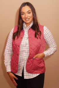 Barbour Gilet-Deveron-Ladies -Pink/Tayberry-LCI0041PI52 open