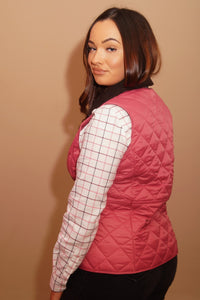 Barbour Gilet-Deveron-Ladies -Pink/Tayberry-LCI0041PI52 long