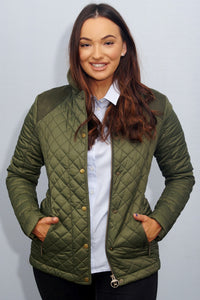 Barbour Quail-Ladies Quilted Jacket-Olive-LQU0973OL53 open front