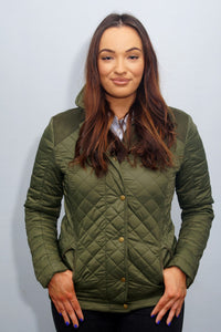 Barbour Quail-Ladies Quilted Jacket-Olive-LQU0973OL53 fastened