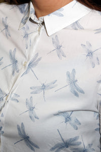 Barbour Ladies Shirt-Bowfell-White Dragonfly-LSH1216WH11 pattern