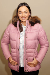 Barbour Quilt-Ullswater-Ladies Hooded Jacket-Pink-LQU1081PI32 front open