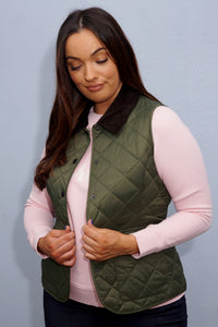 Barbour Gilet-Deveron-Ladies-Olive Green-LGI0041OL53 brown