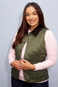 Barbour Gilet-Deveron-Ladies-Olive Green-LGI0041OL53 fit