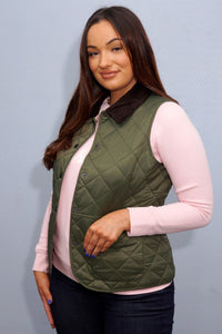 Barbour Gilet-Deveron-Ladies-Olive Green-LGI0041OL53 pocket