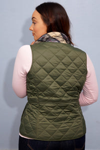 Barbour Gilet-Deveron-Ladies-Olive Green-LGI0041OL53 collar pattern