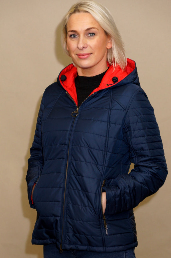 Barbour Cragside Ladies quilt with hood in Navy/Red LQU0851NY71 ... : ladies quilted barbour jackets - Adamdwight.com
