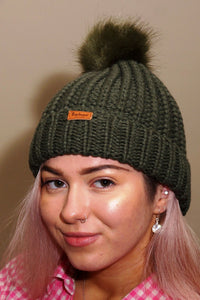 Barbour Beanie-Saltburn -Bobble Beanie-Olive Green-LHA0336OL311 side