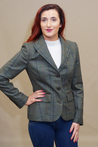 Barbour Aster Ladies Tailored Tweed Jacket in Light Olive LTA0097GN55