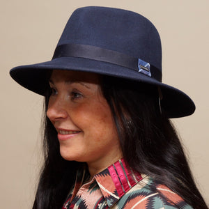 Barbour Fedora-Deveron Hat-Navy LHA0433NY51 side