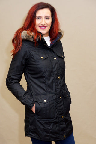 Barbour Ashbridge Ladies wax parka Jacket in Black LWX0751BK71