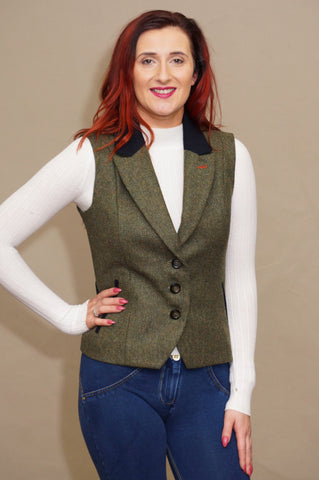 Jack Murphy Kay Tweed Gilet in Green Delight BOD136