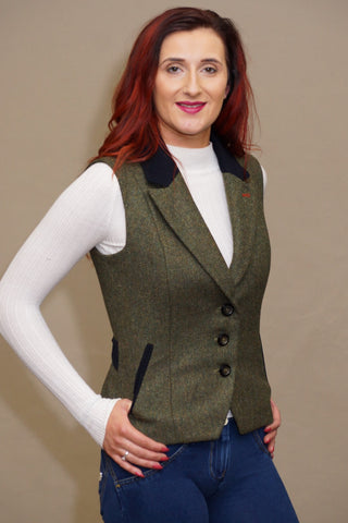 Jack Murphy Kay Tweed Gilet in Green BOD136