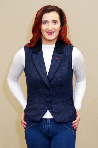 Jack Murphy Kay Tweed Gilet in Navy Delight BOD138
