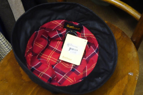 Barbour Kelso wax belted hat in Black red lining LHA017BK11