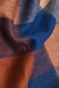 Barbour Large Tattersall Lambswool Scarf - Navy/Camel - USC0005NY11 - Fabric Detail