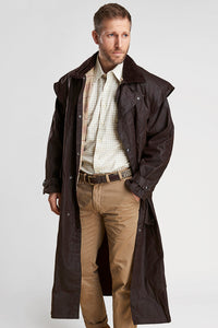 Barbour Stockman Long Wax Coat - Rustic Brown - MWX0006BR71 - Modelled Front Open