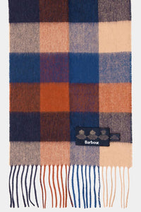 Barbour Large Tattersall Lambswool Scarf - Navy/Camel - USC0005NY11 - Display View