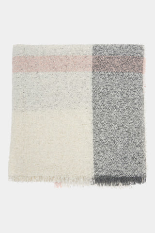 Barbour Plaid Boucle Wrap Scarf - Ecru/Pink/Grey - LSC0215WH11 - Display View