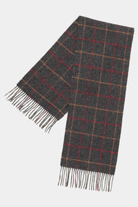Barbour Tattersall Lambswool Scarf - Charcoal/Red - USC0009CH11 - Display View