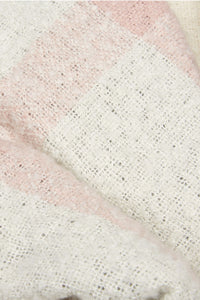 Barbour Plaid Boucle Wrap Scarf - Ecru/Pink/Grey - LSC0215WH11 - Fabric Detail