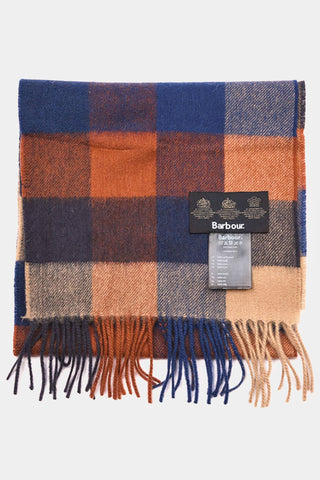 Barbour Large Tattersall Lambswool Scarf - Navy/Camel - USC0005NY11 - Folded View