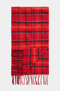Barbour Tartan Lambswool Scarf - Cardinal Red - USC0001TN12 - Folded View