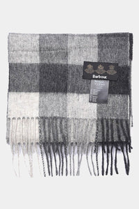Barbour Large Tattersall Lambswool Scarf - Charcoal Grey - USC0005CH11 - Folded View