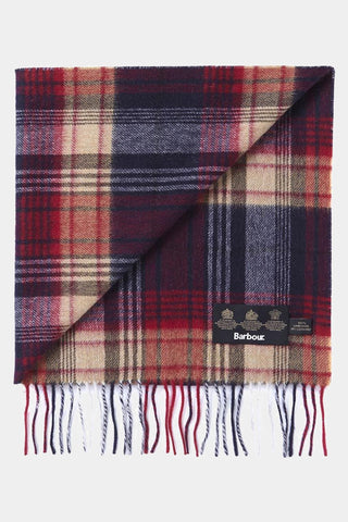 Barbour Brignall Lambswool Scarf - Red/Navy - USC0107RE51 - Display View