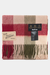 Barbour Large Tattersall Lambswool Scarf - Olive/Burgundy - USC0005OL12 - Folded View