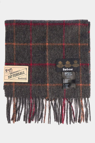 Barbour Tattersall Lambswool Scarf - Charcoal/Red - USC0009CH11 - Folded View