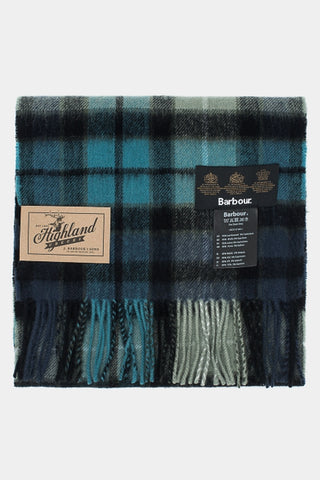 Barbour New Check Tartan Scarf - Black & Aqua Buchanan - USC0137BK11 - Folded View