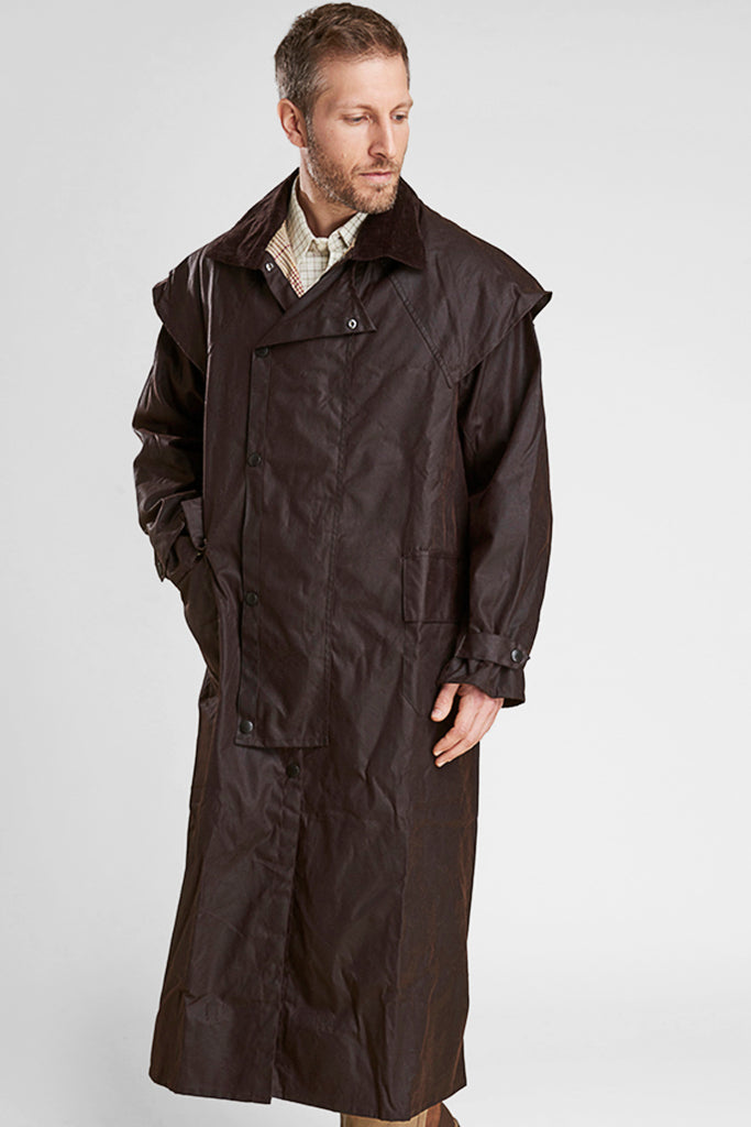 Buy Barbour Stockman Full Length Rustic Brown Waxed Cotton