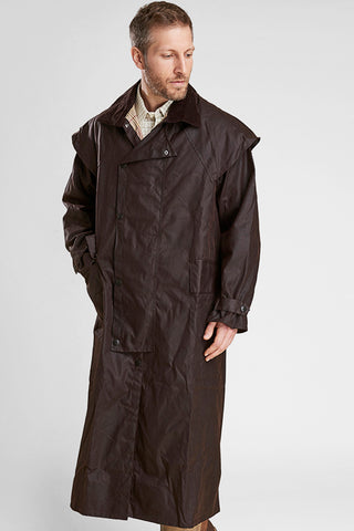 Barbour Stockman Long Wax Coat - Rustic Brown - MWX0006BR71 - Modelled Front Closed