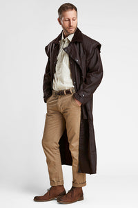 Barbour Stockman Long Wax Coat - Rustic Brown - MWX0006BR71 - Modelled Full Front Open