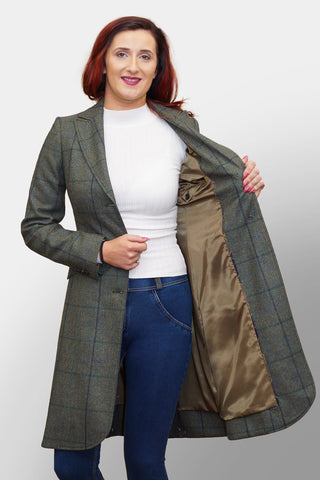 BARBOUR DARWEN TAILORED TWEED JACKET - LIGHT OLIVE - LTA0098GN55 - Front Opened